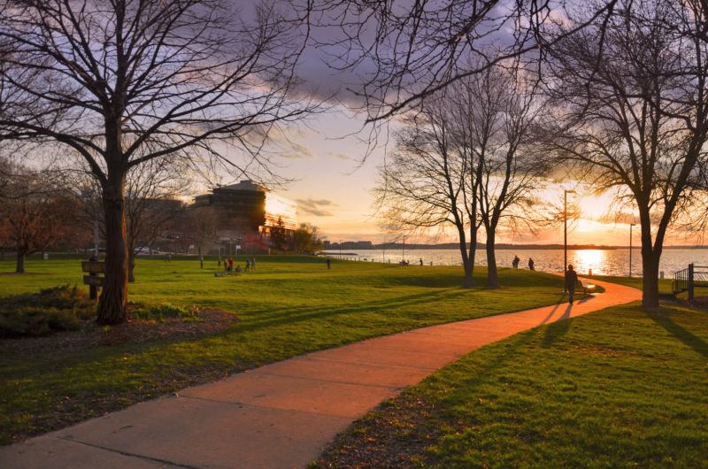 A Saturday evening in early May at James Madison Park, in Madison, Wisconsin