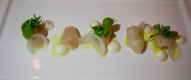 Fluke Crudo at Winemaker Dinner