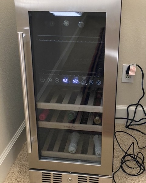 """NewAir 15"""" Premium Built-in Dual Zone 9 Bottle and 48 Can Wine and Beverage Fridge"""